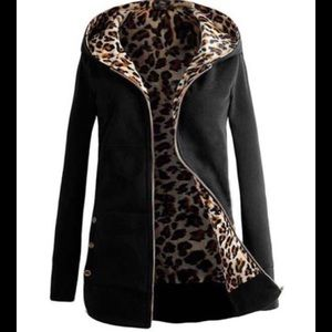Leopard Hoodie black cotton coat